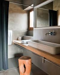 small bathroom design with unique wooden bench rectangle vanity