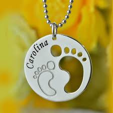 footprint necklace personalized cut out baby disc necklace engraved kids name circle necklace