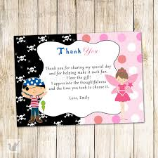 pirate fairy thank you card pixie kids birthday party notes