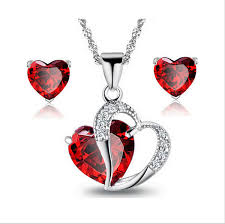 heart necklace red images Aaa cubic zircon cz zircon heart necklace stud earrings set png