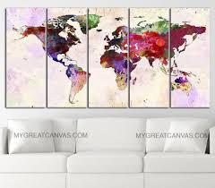 Large World Map Large Wall Art Canvas Print Colorful World Map Paint Splash