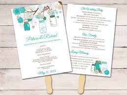 jar wedding programs jar wedding program fan template ceremony program teal brown