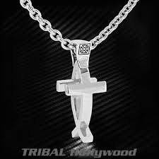 jesus fish necklace ecks 2 in 1 jesus fish modern cross silver mens necklace