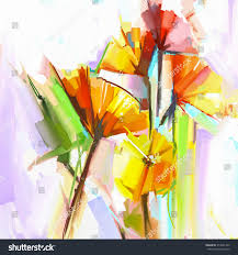 abstract oil painting spring flowers still stock illustration