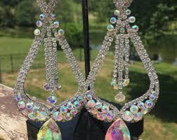 Big Chandelier Earrings Extra Large Clear Rhinestone Earrings Prom Pageant Chandelier