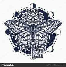 butterfly and vintage key tattoo art mystical symbol of freedom