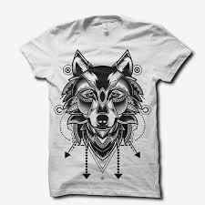 wolf doodle ornament t shirt design tshirt factory