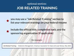 federal resume builder federal resume job related training