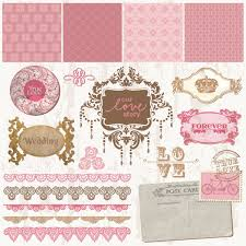 vector vintage decorative wedding frames and ornaments