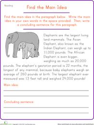 main idea 4th grade worksheets worksheets