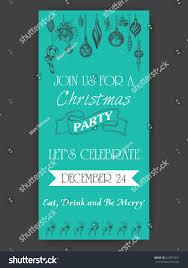 vector illustration sketch christmas party invitation stock vector