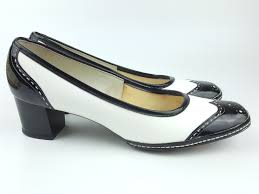 vintage joyce spectator pumps oxford styling white with black