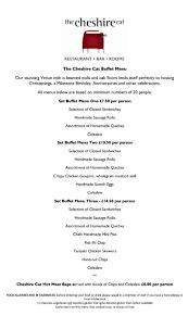 Sample Buffet Menus by The Cheshire Cat Menus