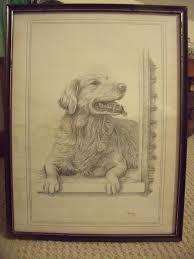 framed signed c varley pencil sketch of golden retriever for sale