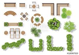 Wooden Bench Plan Set Of Vector Wooden Benches And Treetop Symbols Collection For
