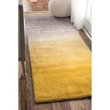 Plush Runner Rugs Nuloom Handmade Soft And Plush Ombre Yellow Shag Runner Rug 2 6