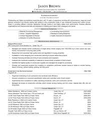 Mechanical Foreman Resume Residential Construction Superintendent Sample Construction