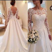 wedding dresses with sleeves uk scoop neck a line sleeve wedding dresses ebay