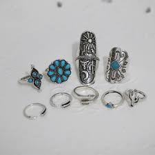 midi ring set 9 boho style midi rings