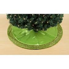 trim a home lime green satin tree skirt with lime green tinsel