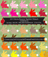 rabbit collection colors bunny rabbit clipart collection