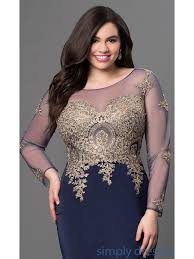 navy mermaid long sleeves gold lace long plus size prom evening