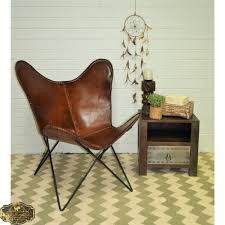 industrial brown leather butterfly chair