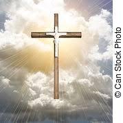sunrays cross black cross by a lake with sun rays shining