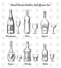 alcohol vector alcohol hand drawn bottles and glasses vector clipart image