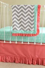 Navy And Coral Crib Bedding Crib Bedding Peony Mint Coral And Navy Custom Crib Set