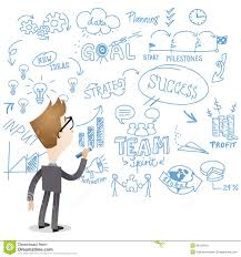businessman back view writing on wall royalty free stock photo