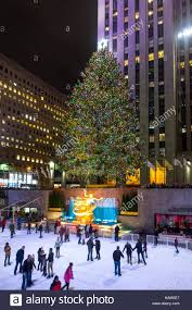 giant christmas tree at the rink at rockefeller center in new york