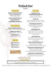 thanksgiving lunch menu menu pickled owl restaurant hurleyville ny locally owned
