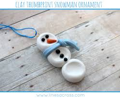 clay thumbprint snowman ornament lines across