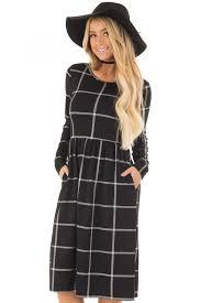 midi dress black plaid high waist flare midi dress with pockets lime lush