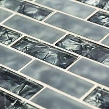 jeffrey court black magic 12 in x 12 in glass brick mosaic tile