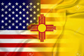 New Mexican Flag Waving Usa And New Mexico State Flag Stock Photo Picture And