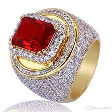 all red rings images Men gold color hip hop rings micro pave big red cz stone all iced jpg