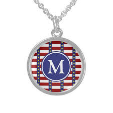 Monogrammed Sterling Silver Necklace Nautical Stars And Stripes Monogram Sterling Silver Necklace
