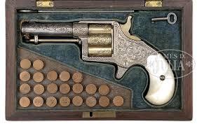 very rare cased engraved colt cloverleaf house pistol