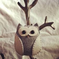 wool felt owl christmas ornament keychain rearview mirror