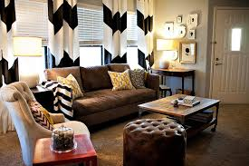 chevron curtains in an eclectic living room eclectic living