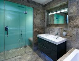 glacier colored high gloss acrylic shower wall panels in bathroom remodel with a ceramic floor