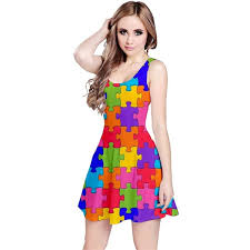 abstract pattern sleeveless dress funny colorful jigsaw puzzle reversible sleeveless dress cowcow 38