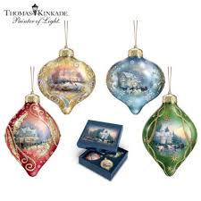 kinkade light up the season luminary glass ornament set