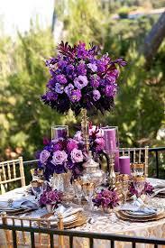 Purple Flowers Centerpieces by Shades Of Purple Floral Wedding Reception Centerpiece Wedding