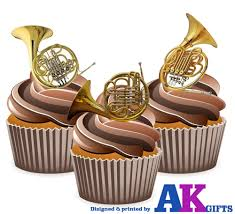 precut french horn brass band 12 edible cupcake toppers