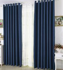 Navy Blackout Curtains Eco Friendly Navy Blue Linen Thick Blackout Insulated Curtains
