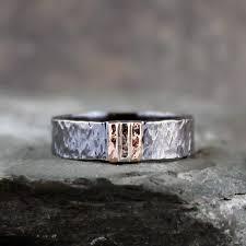 Mens Wedding Ring Metals by Men U0027s Wedding Band Black Sterling Silver U0026 14k Rose And White
