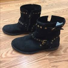 ugg womens fabrizia boots black 45 ugg shoes ugg fabrizia black suede studded biker boots